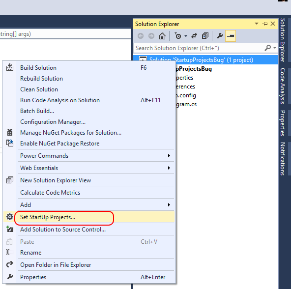Solving the set Startup Projects bug in Visual Studio